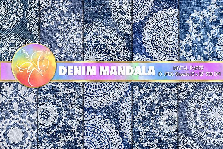Blue Denim and Mandala Digital Paper