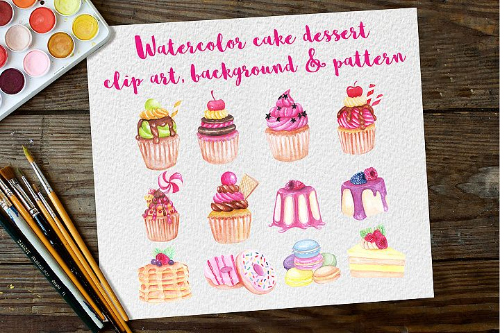 watercolor clip art of sweet Dessert cakes