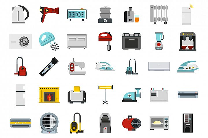 Home appliances icon set, flat style