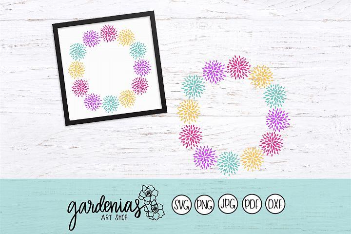 Flower Wreath SVG | Floral Frame Cut File