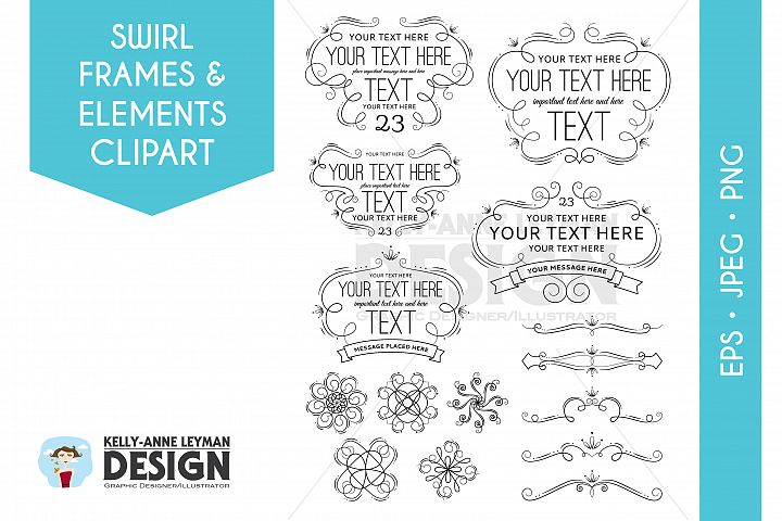 Swirl Digital Frames Clipart, Digital Labels Clipart Set