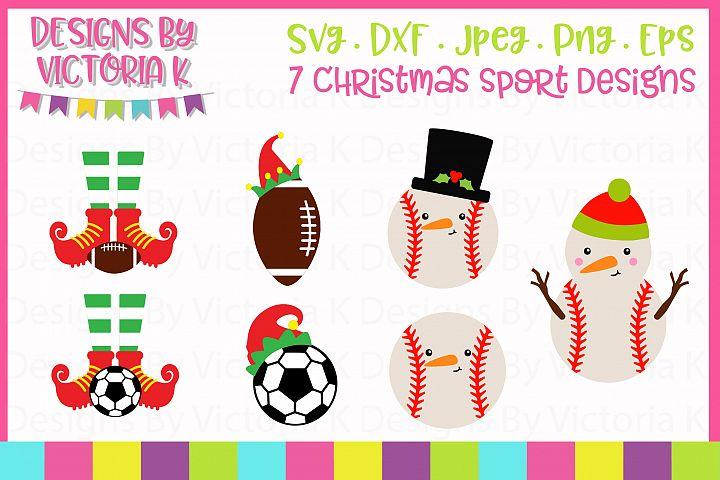 Christmas Sports, Baseball, Football, Soccer SVG Cut Files