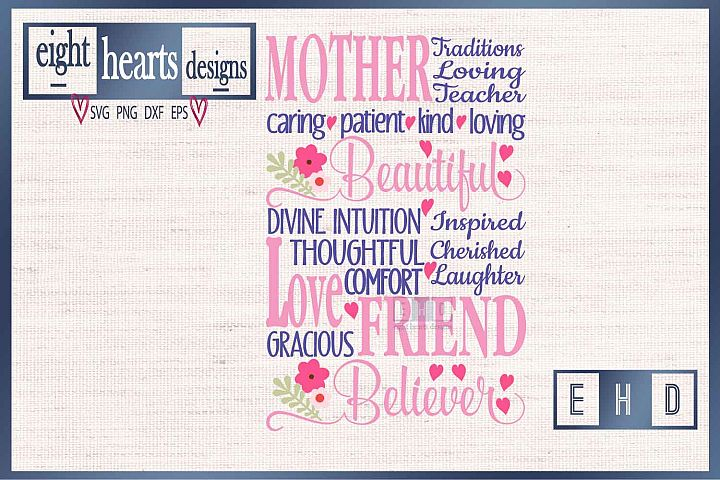Mom, Mothers, Subway ArtSVG EPS DXF Cutting File