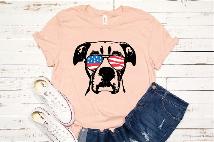 Boxer Dog USA Flag Glasses Paw SVG paw 1438