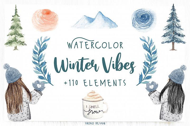 Cozy Winter handpainted watercolor pack by shoko design