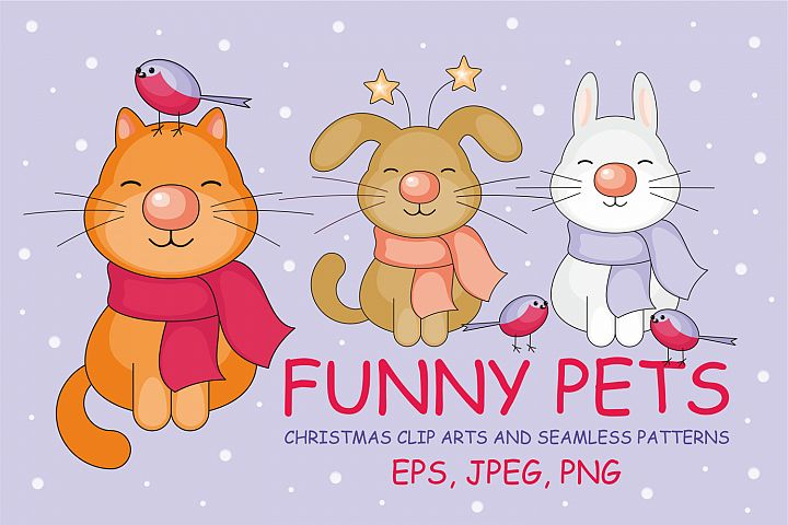 Funny pets. Christmas clip arts and seamless patterns.