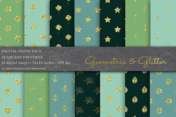 Glitter Geometric Patterns, Wedding Background, Invitation