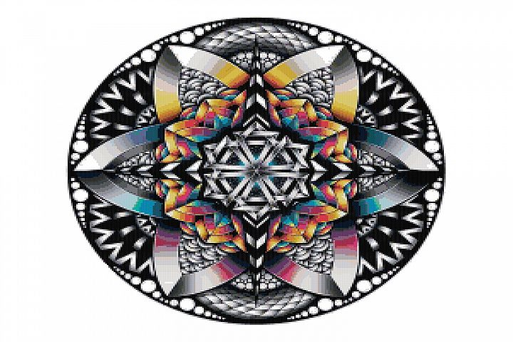 Rainbow Mandala Cross Stitch Pattern