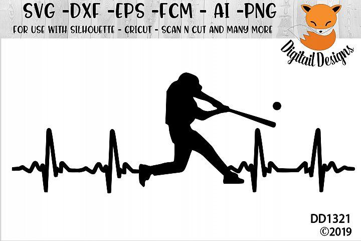 Baseball Hitter EKG ECG SVG - Silhouette - Cricut