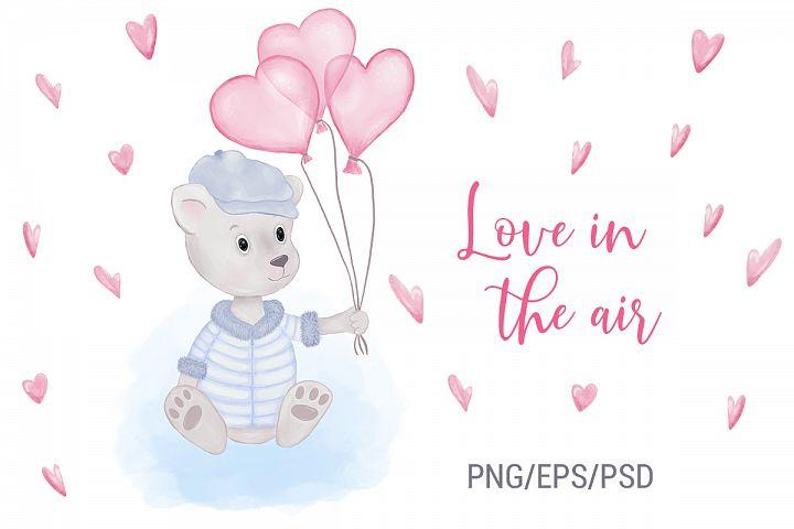Illustrations of Animals. Teddy Bear. Heart Balloons. Love