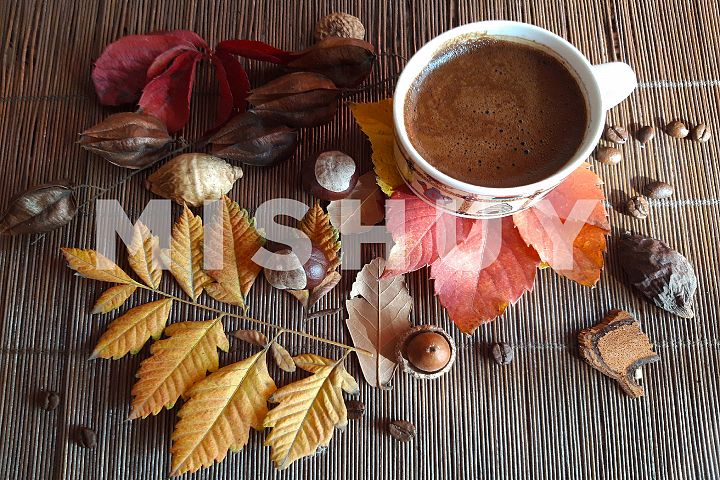 Autumn composition. Cup of coffee and autumn leaves3