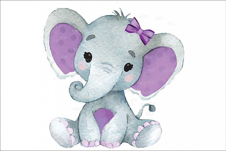 Cute Baby Girl Elephant with Purple Ears in Vector, JPEG