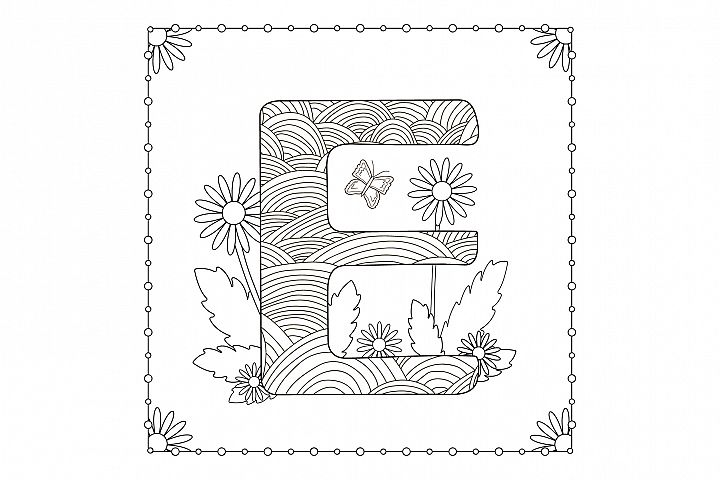 Letter E. Flowers. Coloring page.