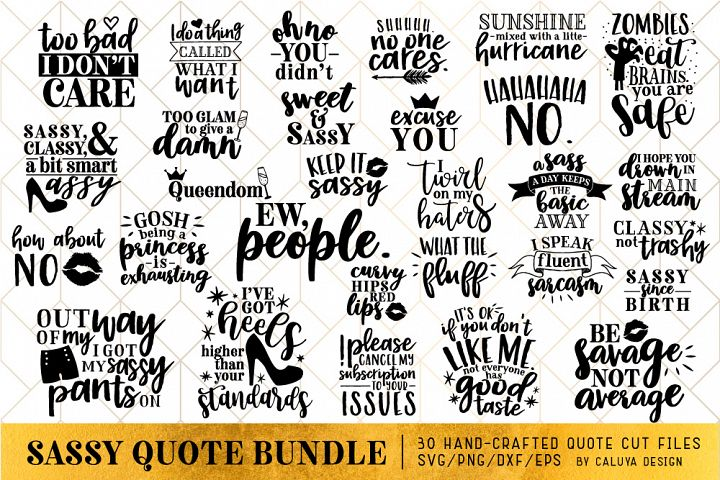 Sassy Quote SVG Cut File Bundle