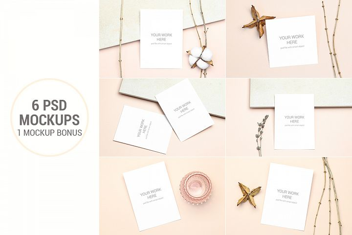 Invitation Card Mockups With Branches