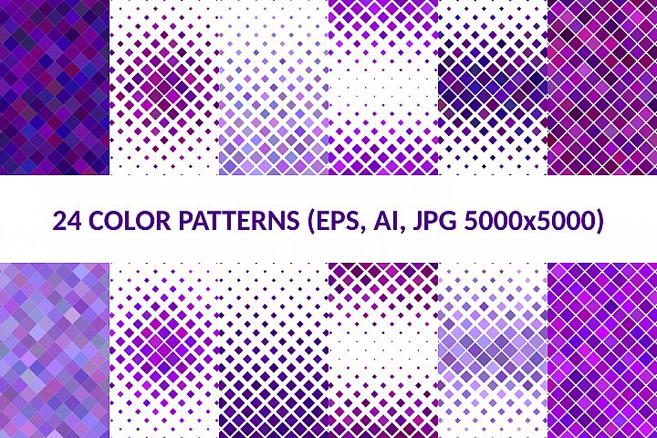 24 Purple Square Patterns AI, EPS, JPG 5000x5000