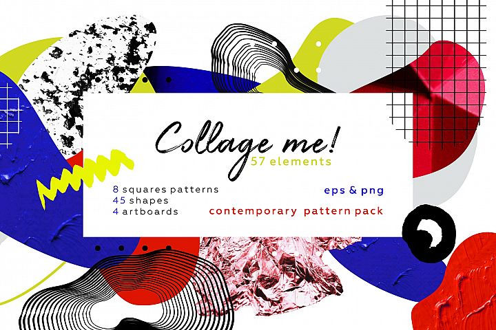 Collage me! Abstract and modern patterns and shapes set.