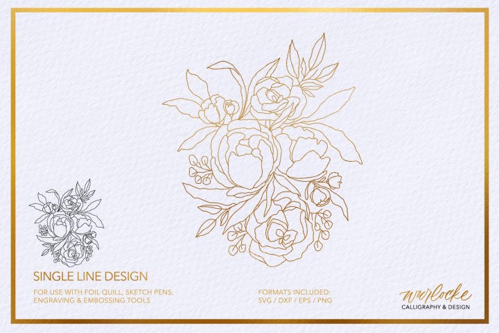 SVG Foil Quill Florals Single Line Design