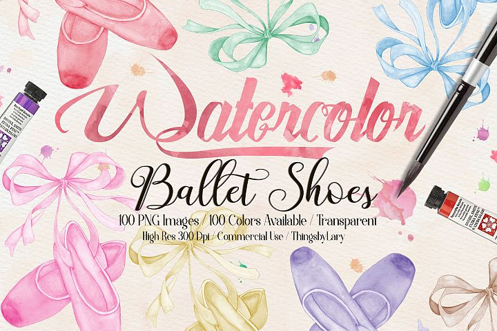 100 Hand Painted Watercolor Bow Ballet Shoes Clip Arts