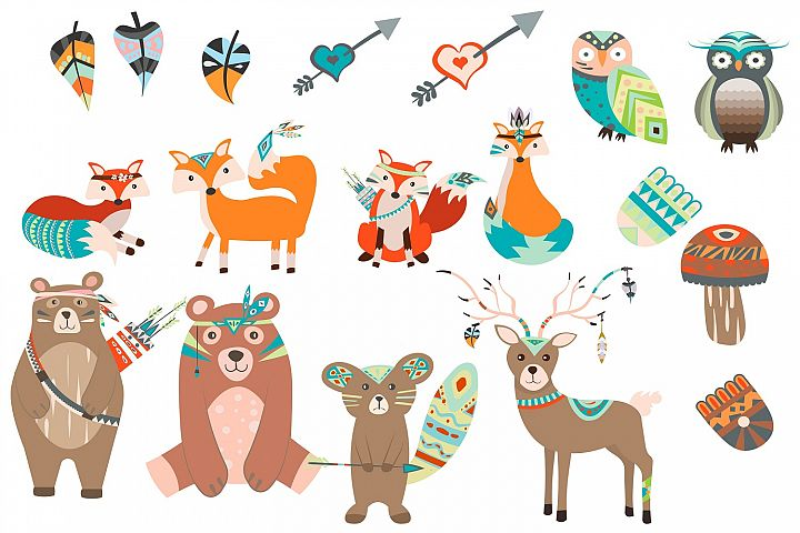 Cute tribal animals illustration Vector Pack