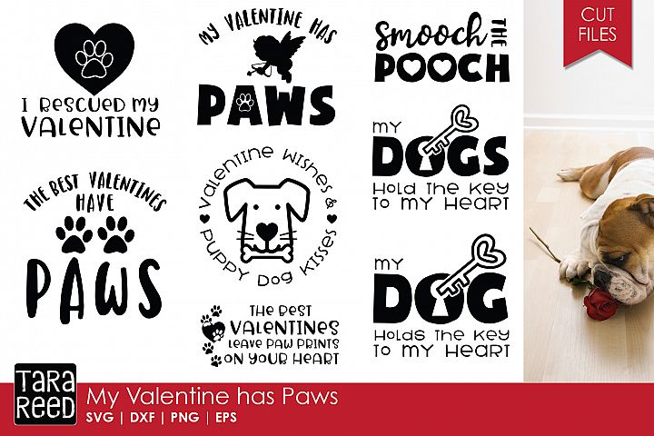 My Valentine has Paws - Valentines Day SVG Files