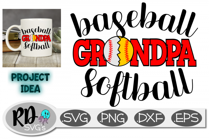 Baseball Softball Grandpa - A Sports SVG cut file
