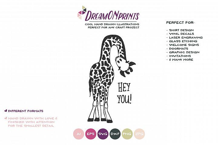 Giraffe SVG Cut File - Funny Giraffe Illustration - Free Design of The Week Design0