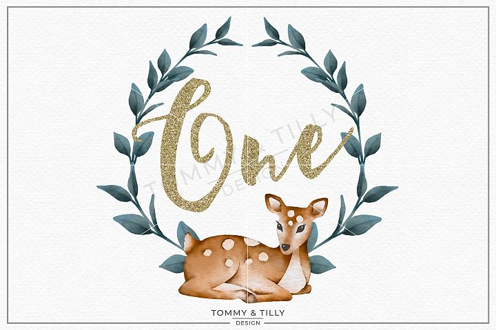 One Birthday Deer Wreath - Sublimation PNG Clipart