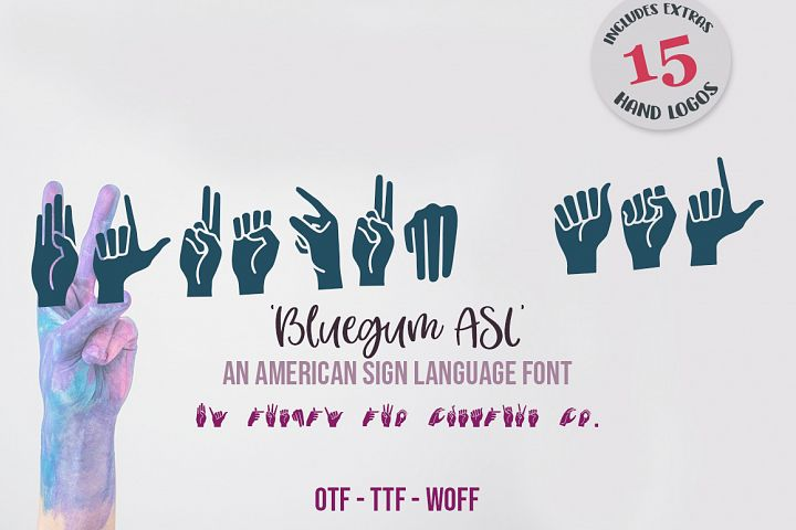 Bluegum American Sign Language Font - Includes Hand Logos