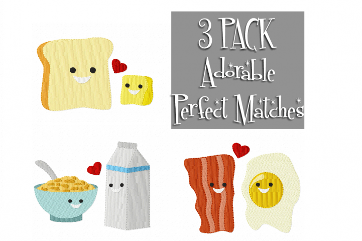 PERFECT Partners Multipack ~ 3 Machine Embroidery Designs to Suit 4 x 4 hoop - Instant Download