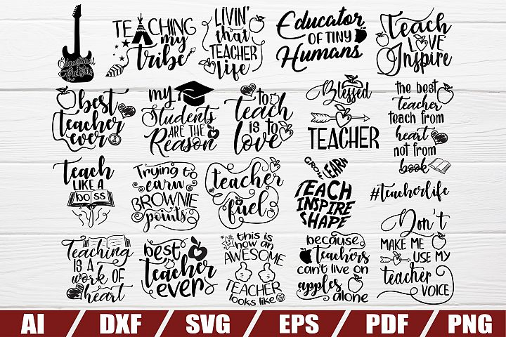 Teacher bundle svg - 20 designs - cut file - dxf file - eps