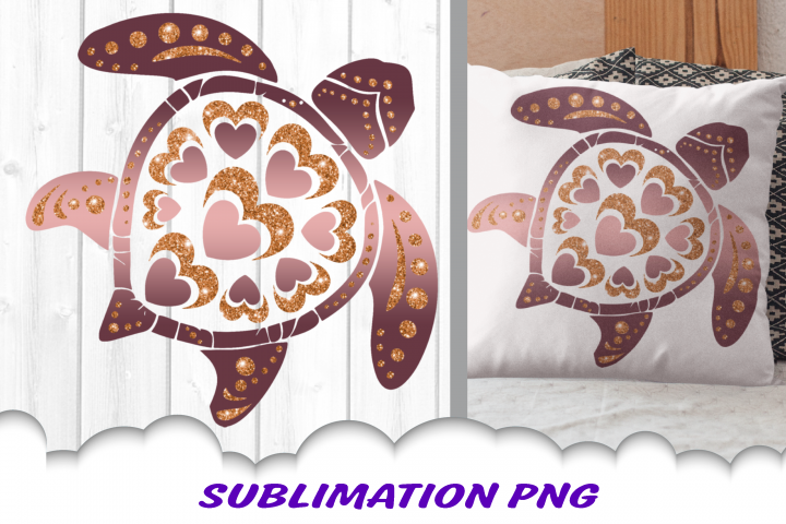 Valentines Day Sea Turtle Hearts Glitter Sublimation PNG