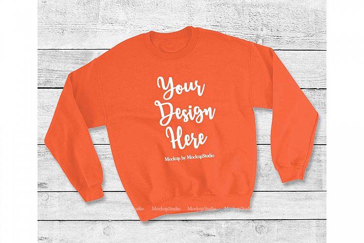 Orange Sweatshirt Mock Up, Unisex Sweatshirt Flat Lay Displa