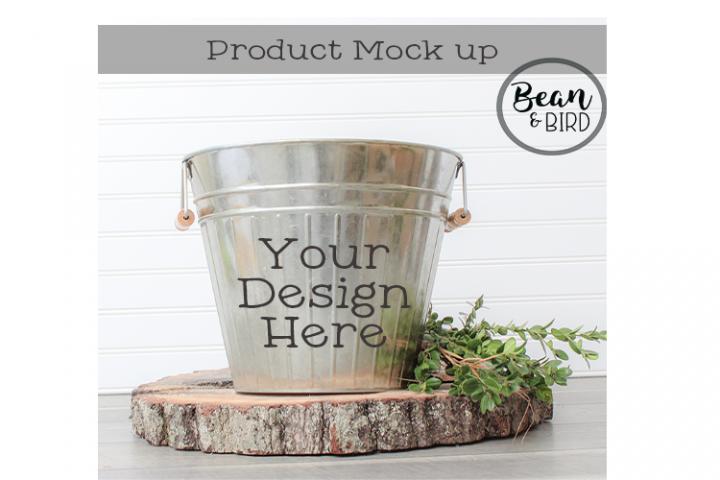 Metal Bucket Mock up Spring Product Mock up