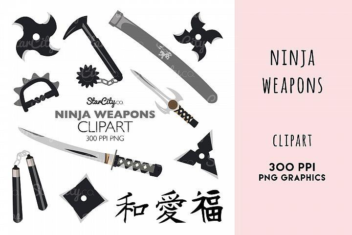 Ninja Weapons, Sword clipart, Throwing Star Graphics