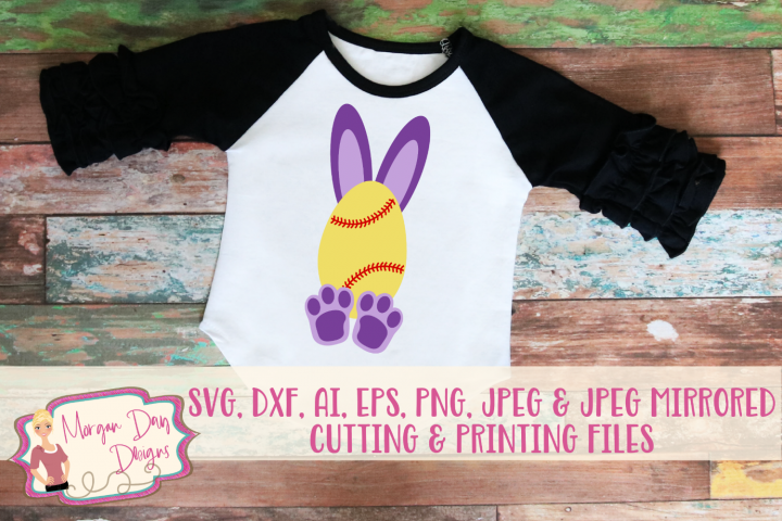 Softball Bunny - Easter SVG, DXF, AI, EPS, PNG, JPEG