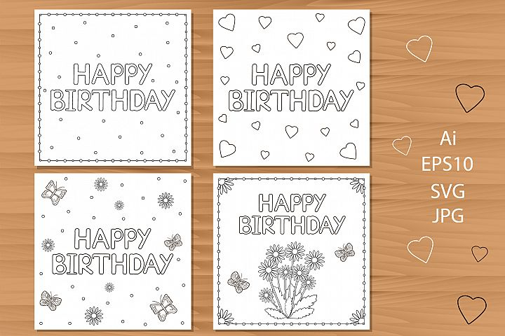 Happy Birthday greeting cards. Coloring pages.