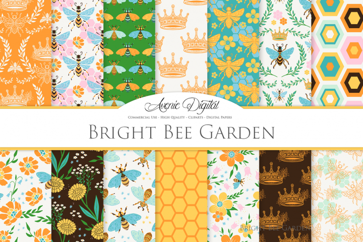 Bright Bee Garden Seamless Vector Patterns and Digital Paper
