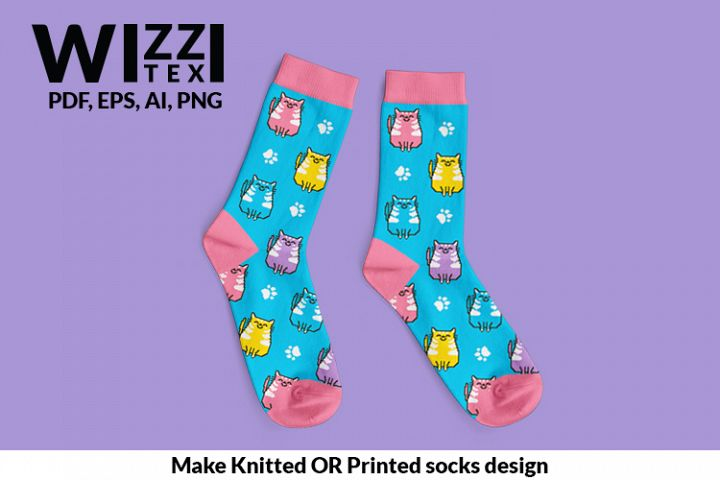 Cat Sock | Pattern Sock | PNG | Cat pattern | Cat gift