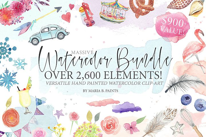 2,600 in 1 Watercolor Clip Art Bundle