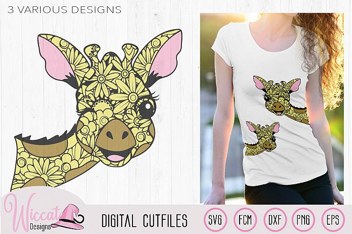 Winking Zentangle Giraffe, mandala animal svg, doodle Giraff