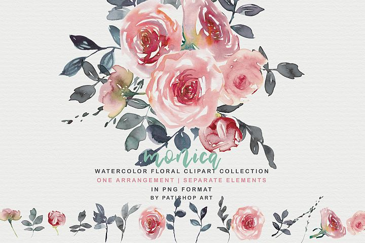 Blush Watercolor Floral Clipart Collection