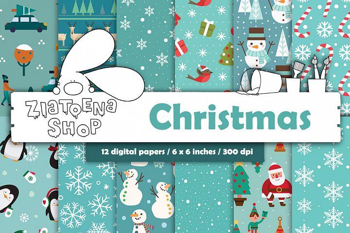 Christmas digital paper pack Digital Paper Snowflakes Xmas