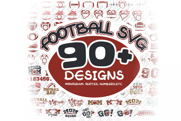 Football SVG Monogram Bundle in SVG, DXF, PNG, EPS, JPG
