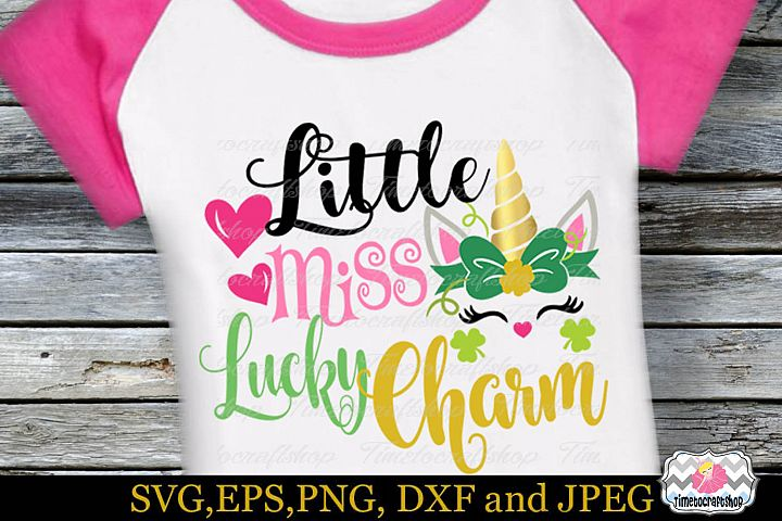 SVG, Dxf, Eps & Png St Patricks Day Little Miss Lucky Charm