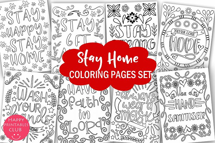 Stay Home Coloring Pages Set-Cute Stay At Home Coloring Kids