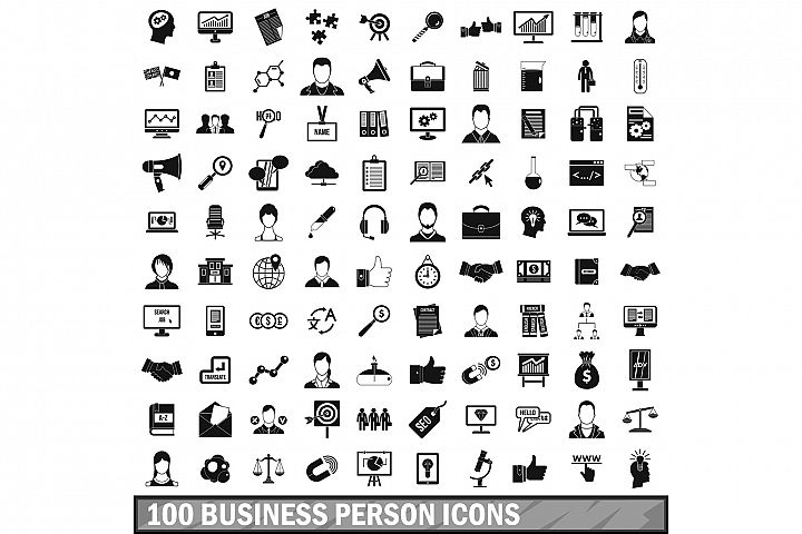 100 business person icons set, simple style