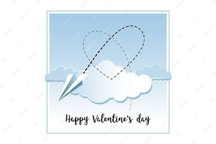 Happy Valentines Day greeting card with Paper airplane.