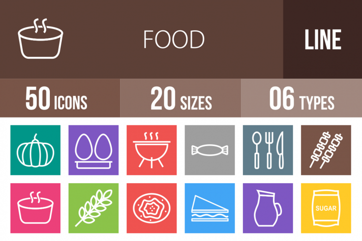 50 Food Line Multicolor B/G Icons
