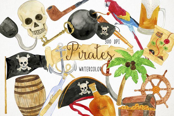 Watercolor Pirates Clipart, Treasure Clipart